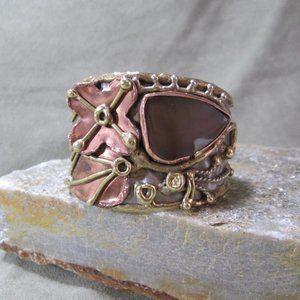 Sterling Mixed Metal Cuff Bracelet, Agate Eye